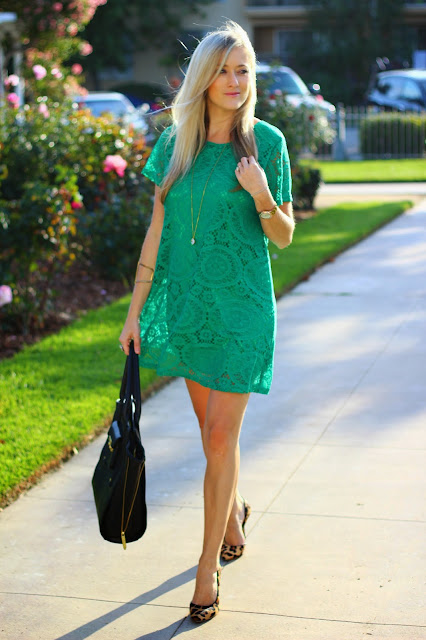 Loose Lace Green Dress, Leopard Pumps, V-Cudd Bracelet
