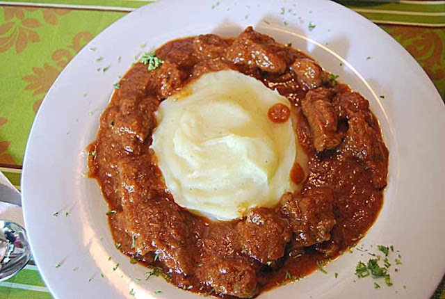 Beef Goulash...very hearty tomato base and savory sauce with very ...