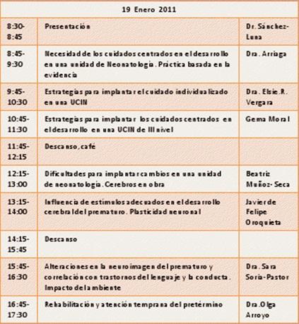CURSO NEURODESARROLLO DEL BEBE PREMATURO ENERO 2012