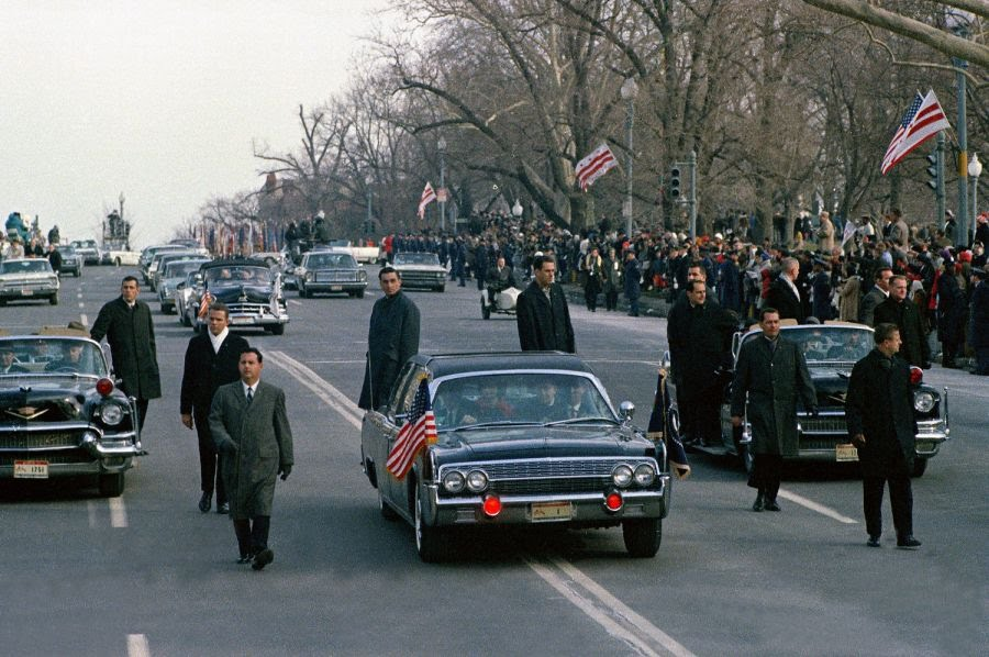 Secret Service agents protect President Johnson