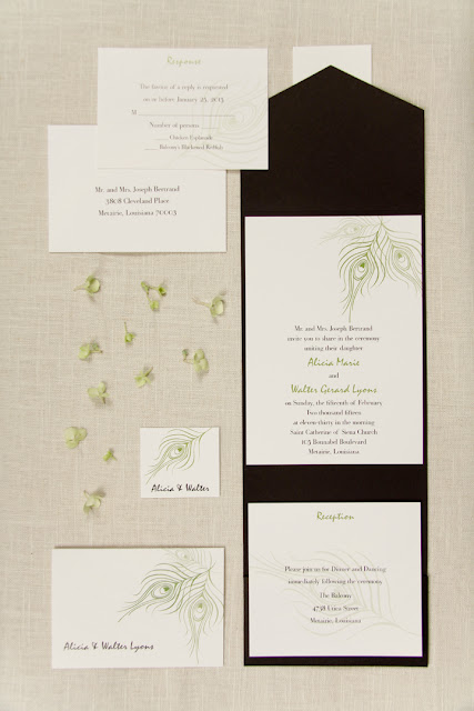 These Kiwi Peacock Feather Wedding Invitations are organized in a Black