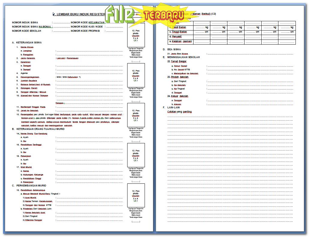 Download Format Buku Induk Siswa Sd Terbaru Perangkat Guru