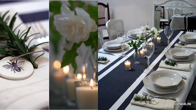 Setting a French table - Love a striped tablecloth!