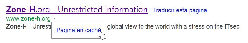La copia en caché de una página guardada en Bing