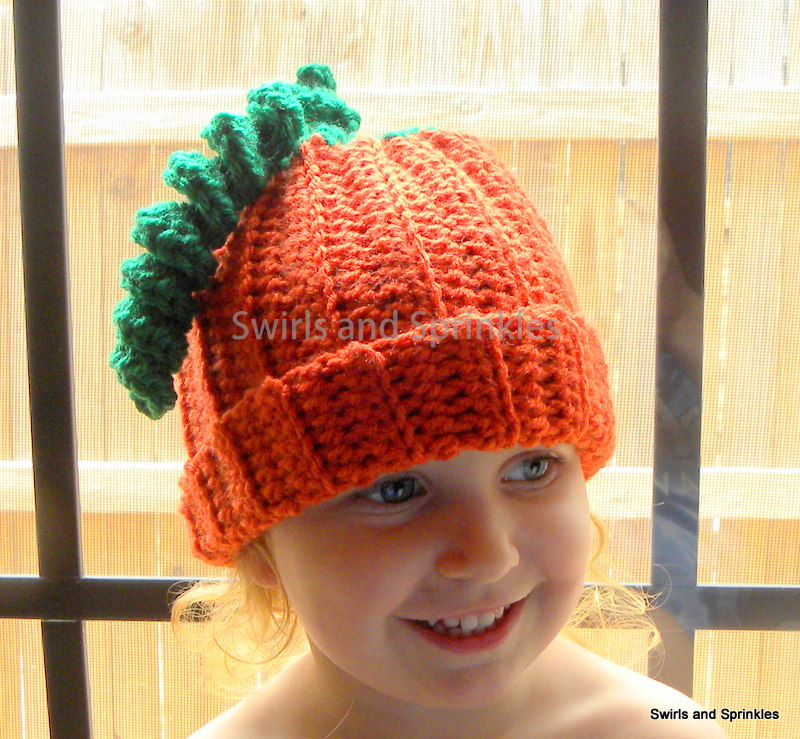 Crochet Patterns Hats For Adults : Swirls and Sprinkles: Free Adult Crochet Pumpkin Hat Pattern