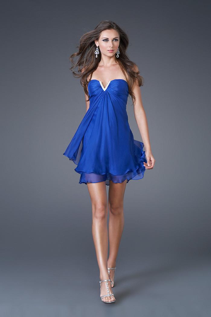 Vestido corto de noche azul rey