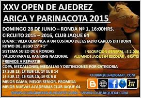 """XXV TORNEO OPEN DE AJEDREZ ARICA Y PARINACOTA 2015"""