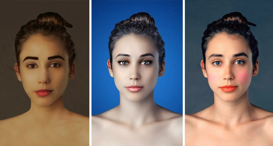 INDIA - Woman Had Her Face Photoshopped In More Than 25 Countries To Compare Their Beauty Standards