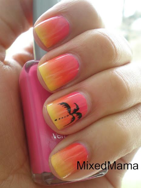 mixedmama tropical sunset nails