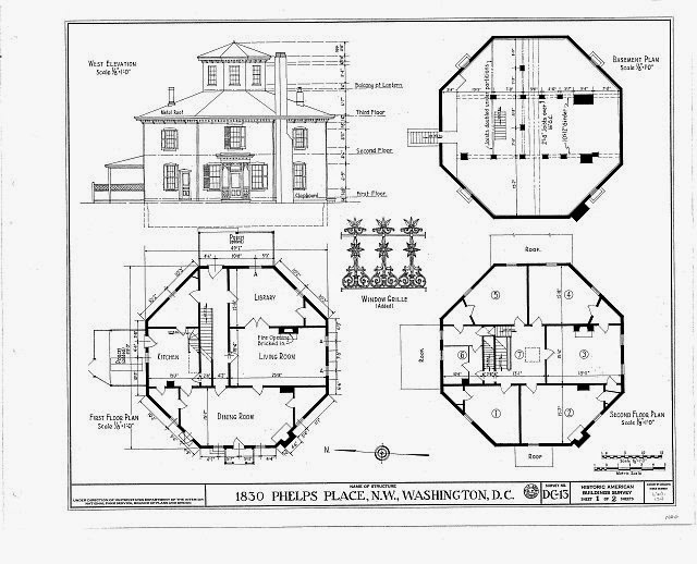 The house history man the other octagon house in for Washington home plans