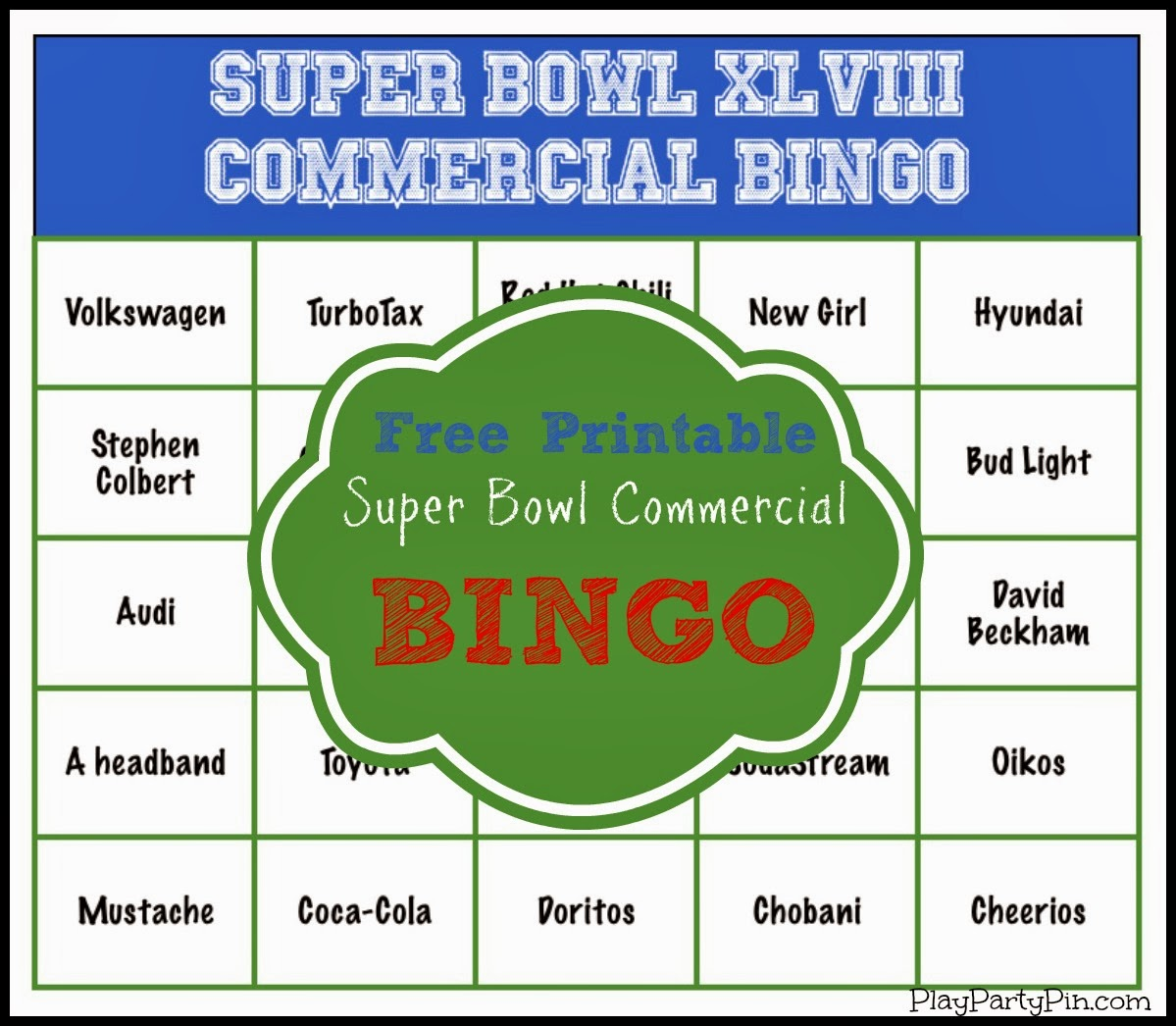 Super Bowl Party Game and Prize Ideas: Super Bowl Commercial Bingo ...