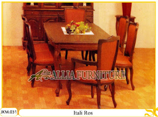 Kursi dan Meja Makan Ukiran Kayu Jati Itali Ros