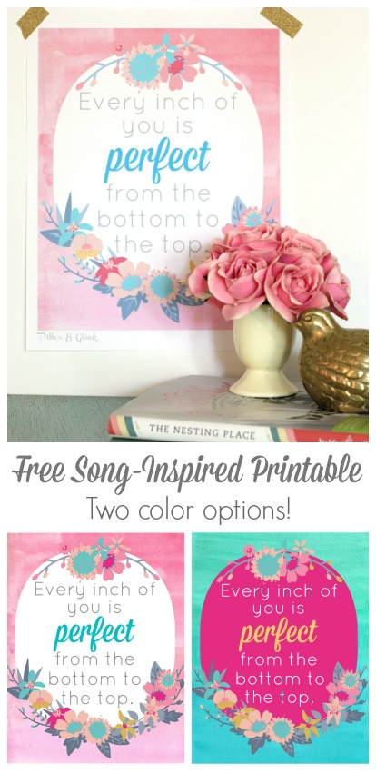 "Free printable inspired by the song ""All About That Bass""--So inspirational! pitterandglink.com"