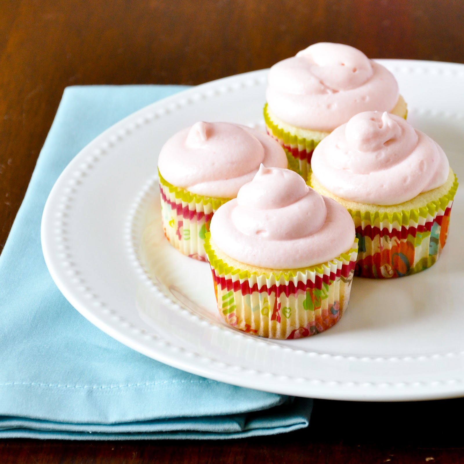 ... and Good Food: Lemon Cupcakes with Strawberry Cream Cheese Frosting