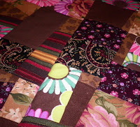 made fabric crazy quilt block brown