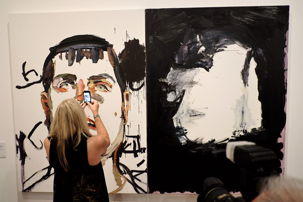 Photographing an eye, Ben Quilty painting, NAS 'After Afghanistan'.
