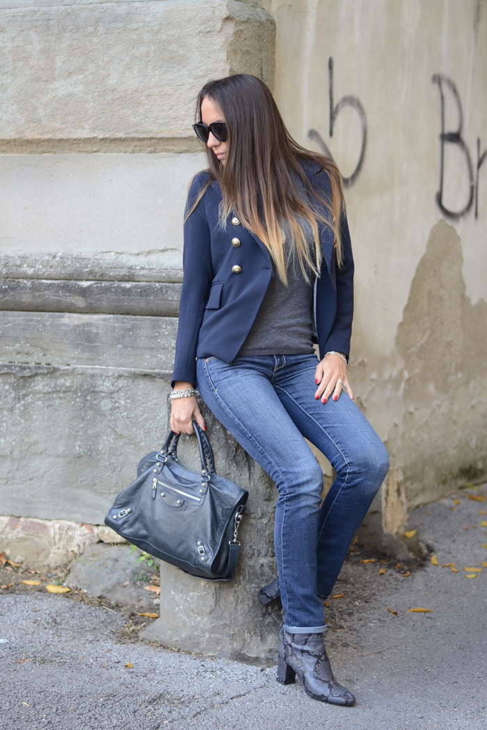 jeans giacca blu