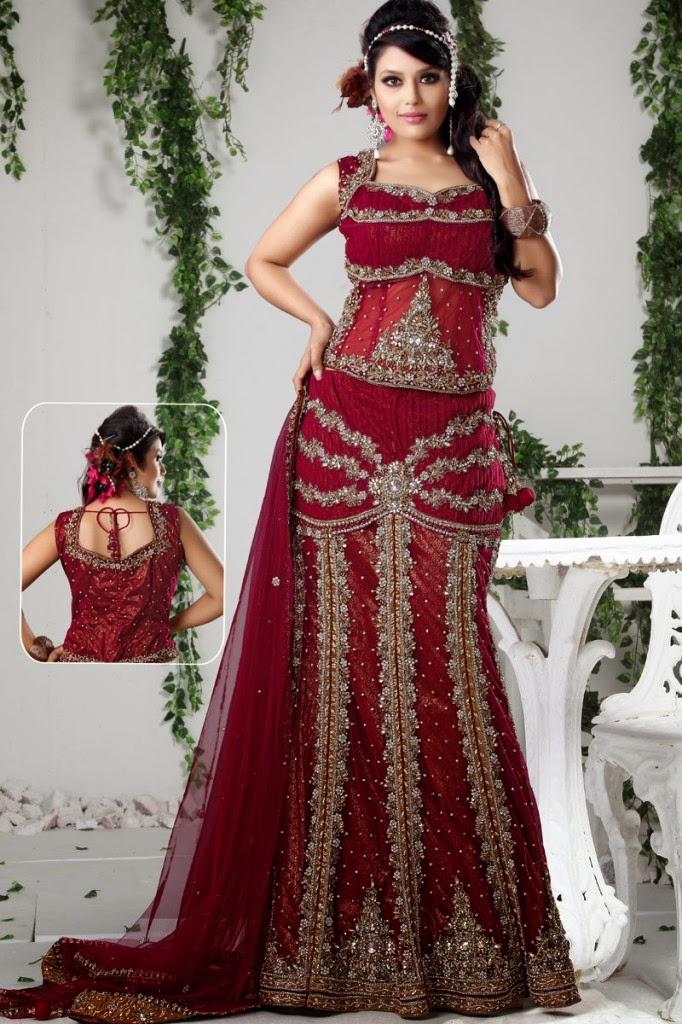 Latest Fashion Trends Indian Style Bridal Lehenga Choli Designs For Women 2015