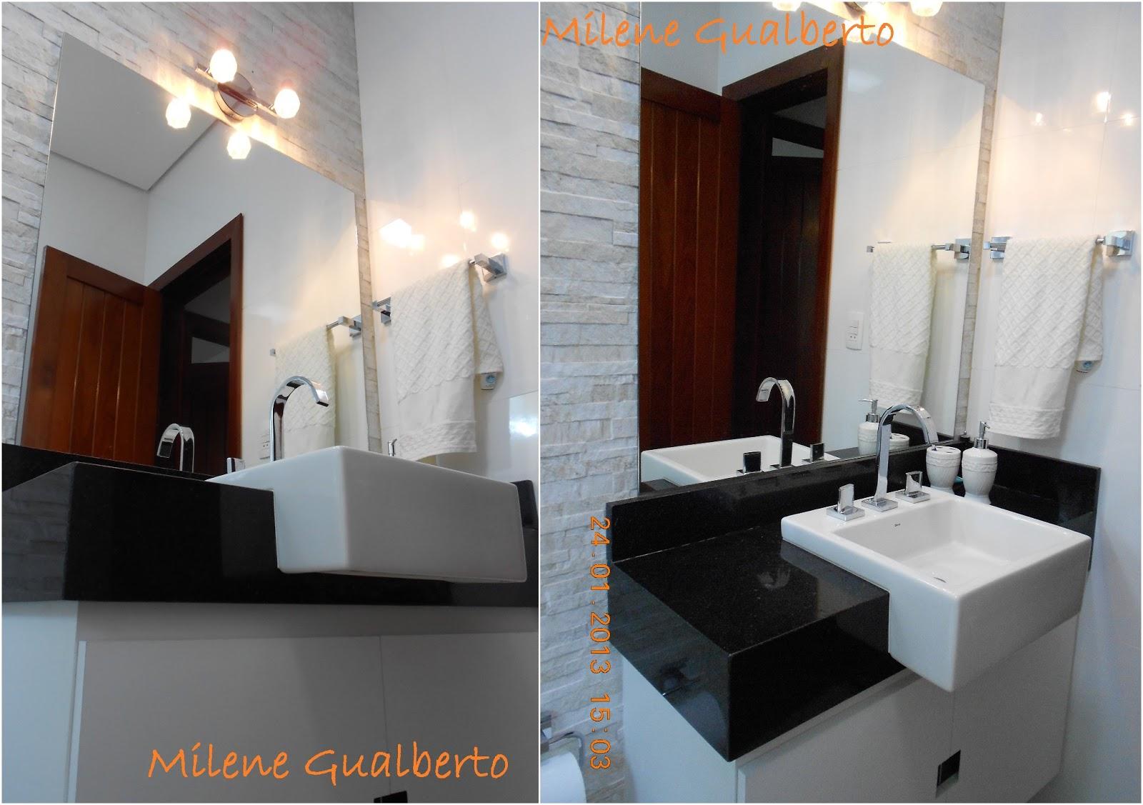 Milene Gualberto: Projetos Residênciais Banheiro Porcelanato HD #9F5C2C 1600x1127 Banheiro Com Piso De Porcelanato Preto