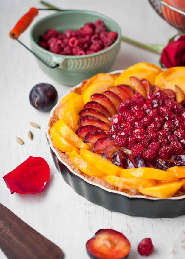 Gluten-Free Peach, Plum, Raspberry Tart with Cardamom Cream and Almond ...
