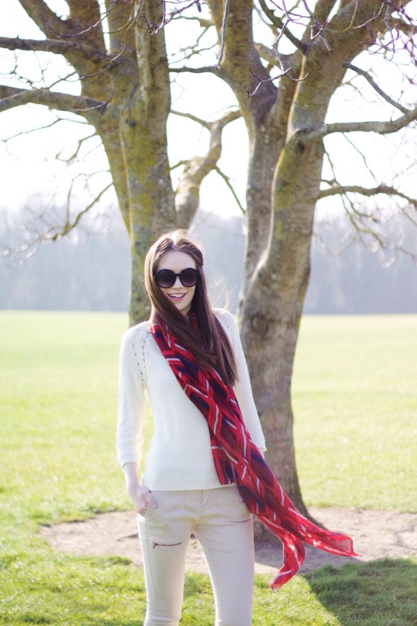 red scarf outfit