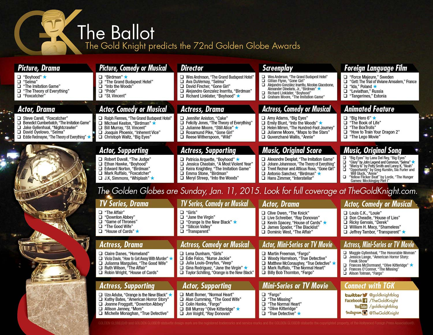 graphic relating to Golden Globe Ballots Printable known as 2015 Golden Environment Awards printable ballot The Gold Knight