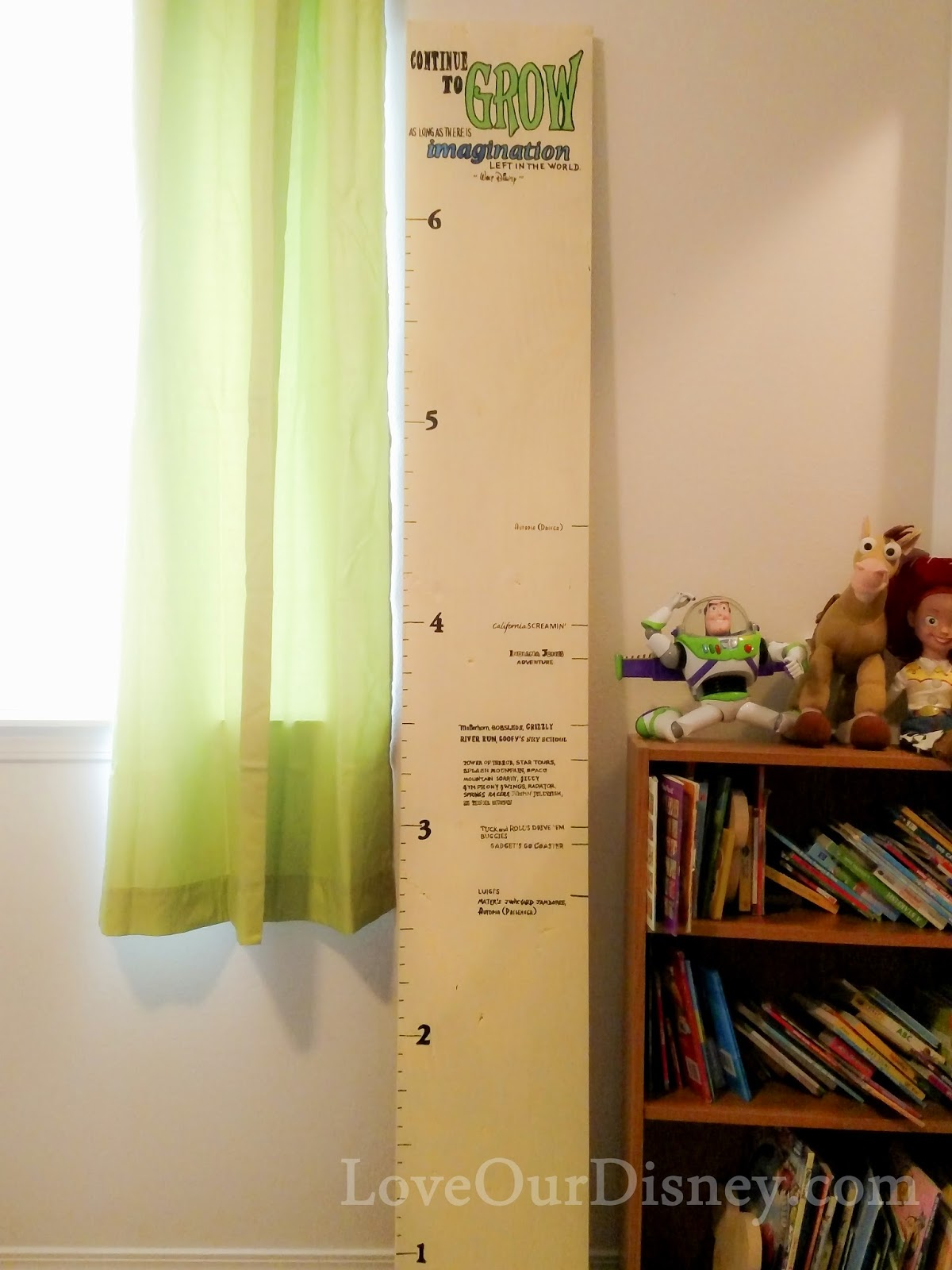 This is a Disney lover growth chart! Ride height requirements marked on it. LoveOurDisney.com