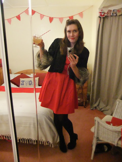 faux fur jacket and red Christmas party dress