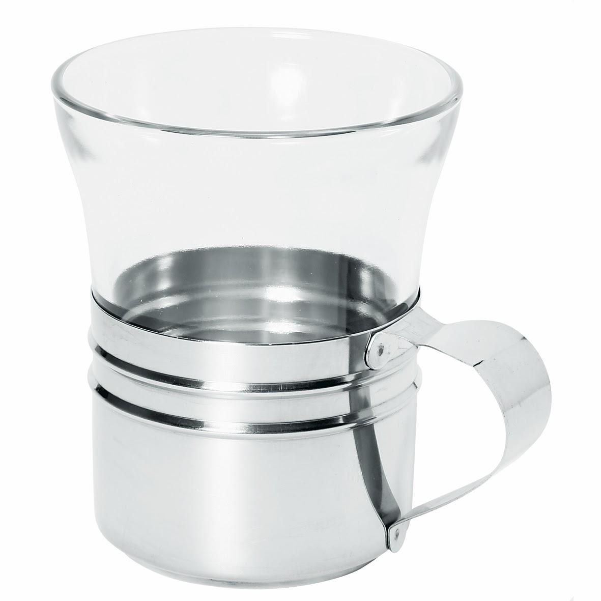 Pahar de Ceai din Sticla cu Maner din Inox, Pahar Termorezistent, Profesional Horeca Import Olanda, www.amenajarihoreca.ro