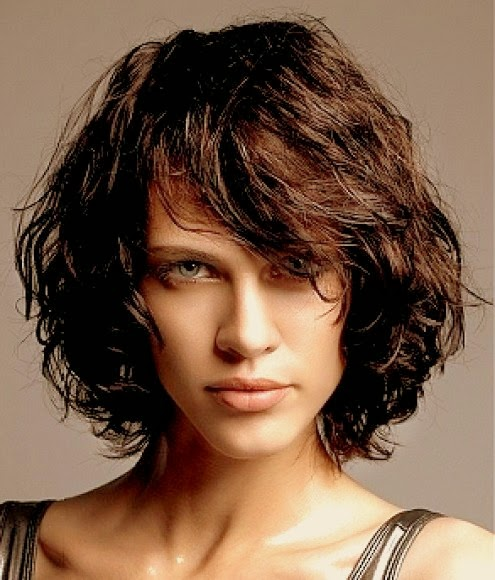 Short Layered Curly Hair Bangs Hairstyle