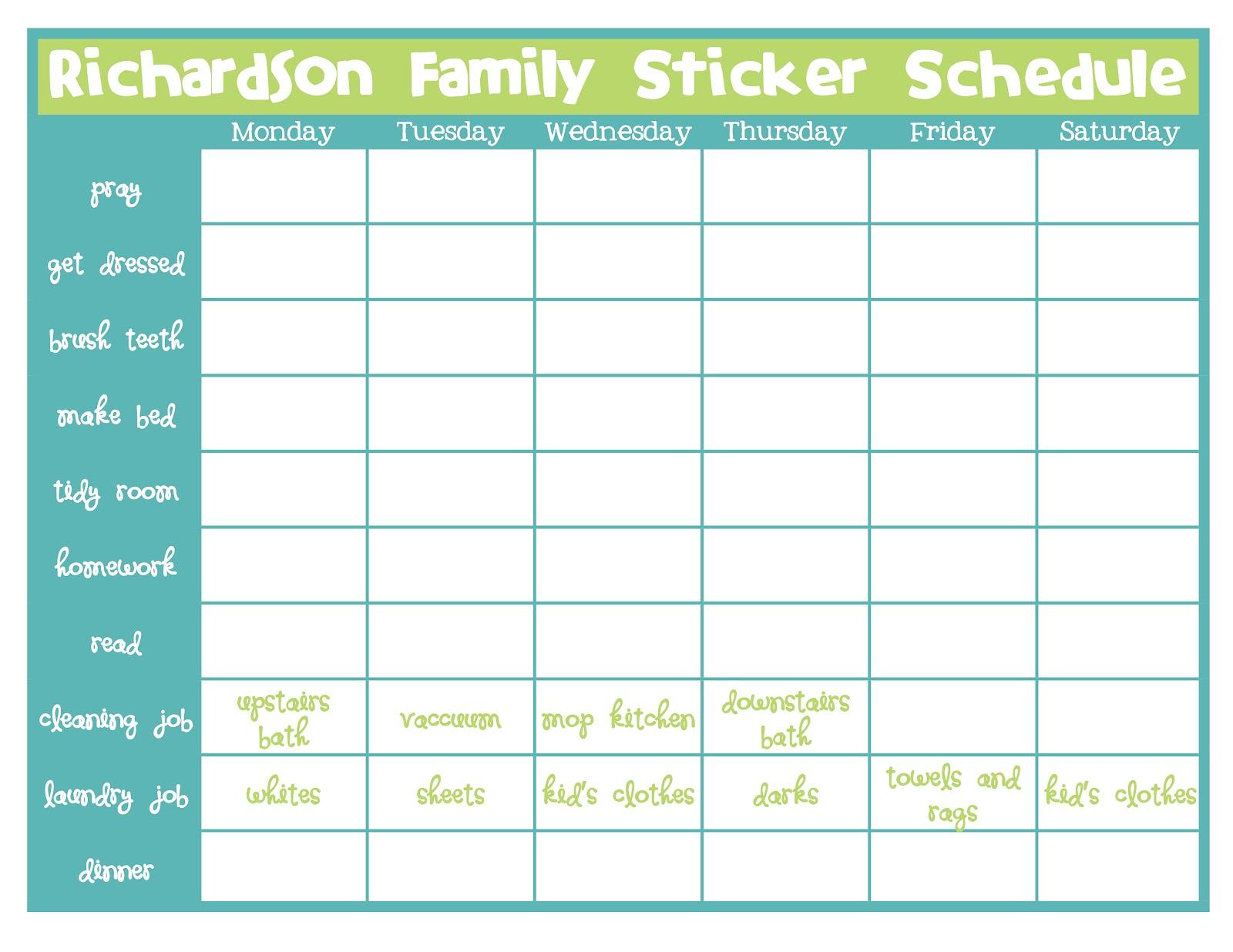 Thursday, September 20, 2012  Blank Sticker Chart