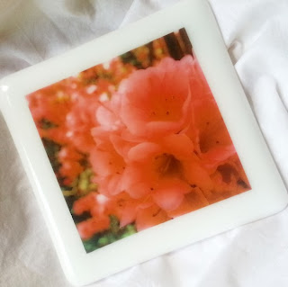 photo of coaster with a full color Instagram photo fused on it, fusography