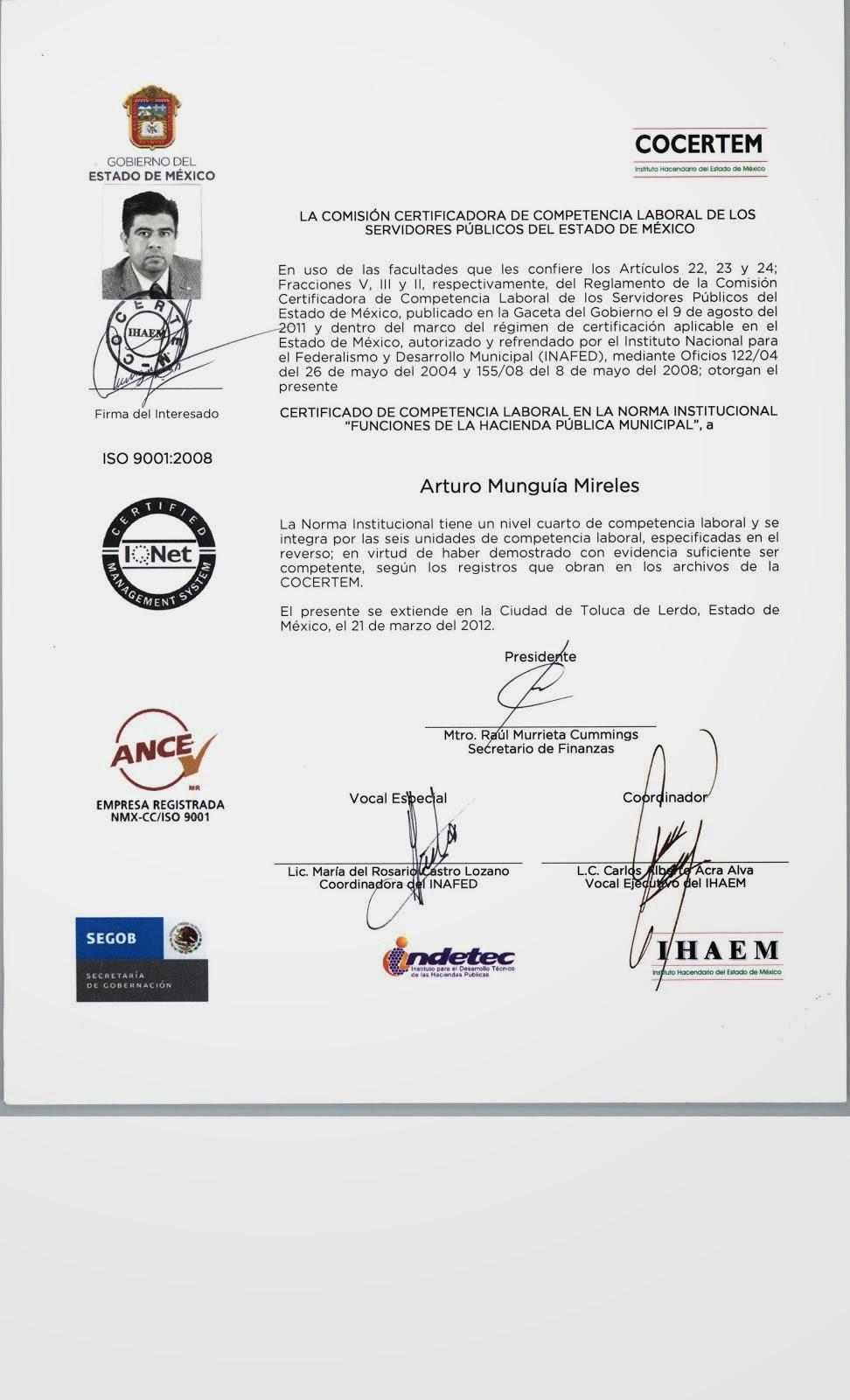 Certificado en Competencia Laboral en Funciones de Hacienda Publica Municipal