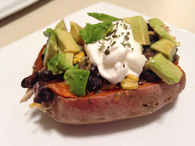 vegetarian meals, one dish meals, 21 day fix recipes, healthy dinners, sweet potatoes, stuffed sweet potatoes, meatless monday, clean eating, black beans, avocado, loaded potatoes, easy dinners, ashley roberts, beachbody coach