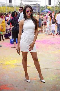Sanjjanaa in lovely Tight White Short Dress at bang Bang Holi Party 2015 at Novotel Hotel