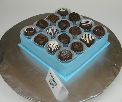 Box of Chocolates Cake with Cake Balls - Angled View 1