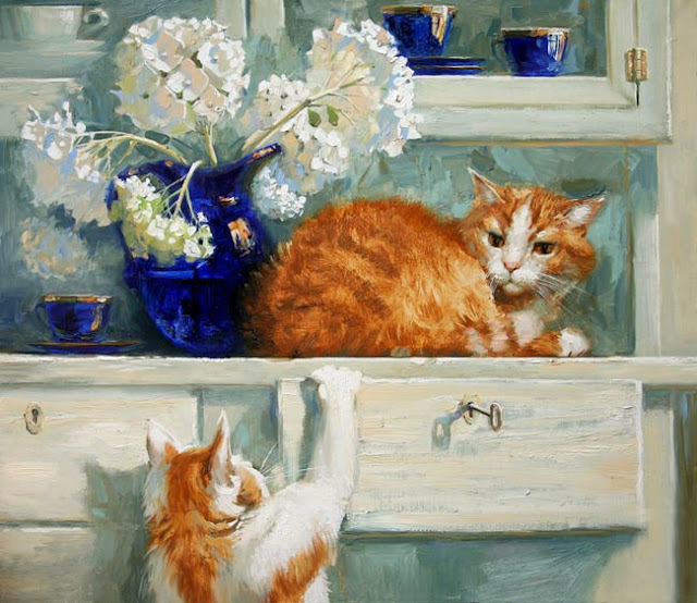 D.W.C. Cats and Flowers -  Painter Maria Pavlova