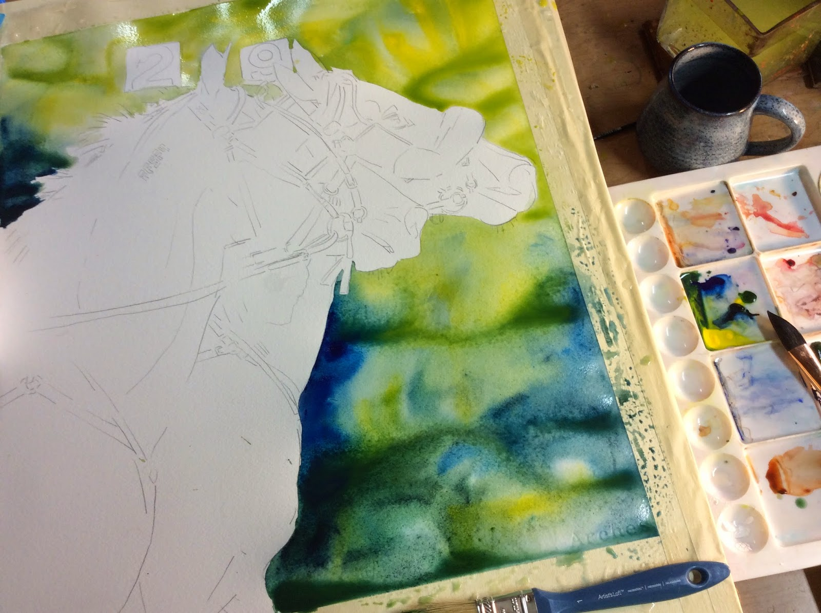 Maria\'s Watercolor: Racehorse Painting in Watercolor Work In Progress