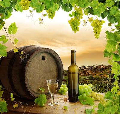 Botella de vino blanco, racimo de uvas, barrica y paisaje con hermosos viñedos