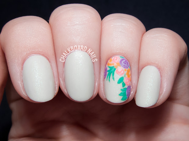 floral bouquet accent nail