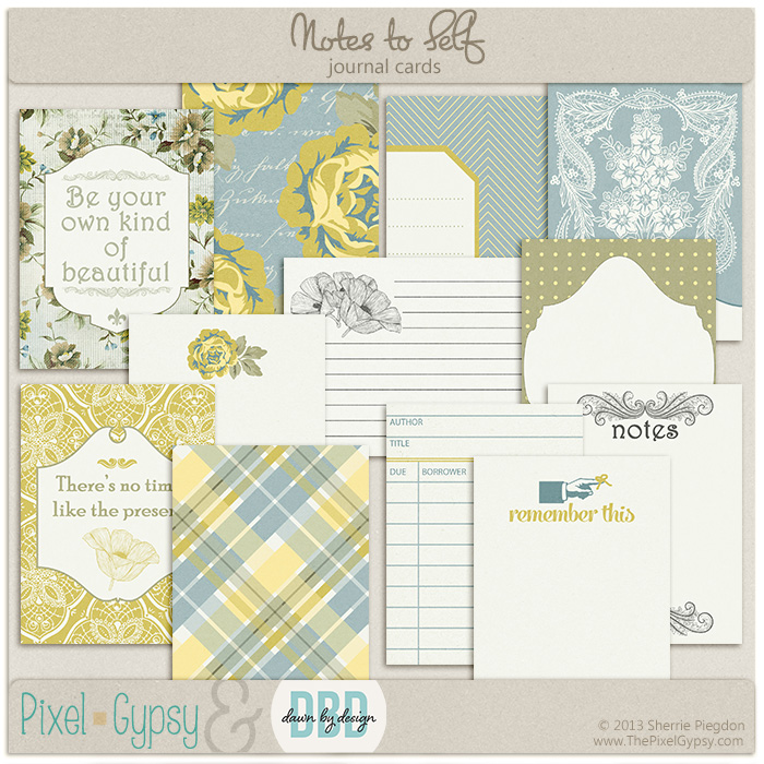 Notes to Self Digital Scrapbooking Journal Project Life Cards