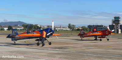 Two Sukhoi Su-26 of the Team Brau 3 Repsol