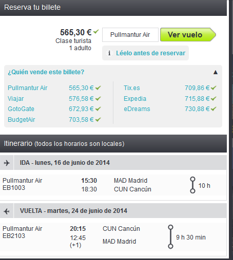 Cancun Madrid Air Pullmantur