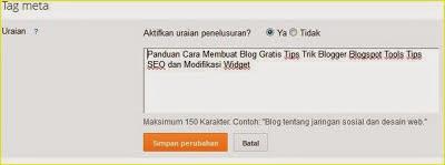 Cara menambahkan meta Description di blogspot