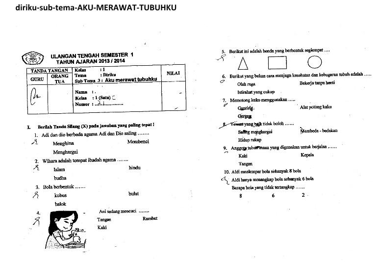 Ragam Budaya Nusantara Soal Uts Kelas 1 Tema 1 Diriku Sub Tema 3 Semester 1 Kurikulum 2013