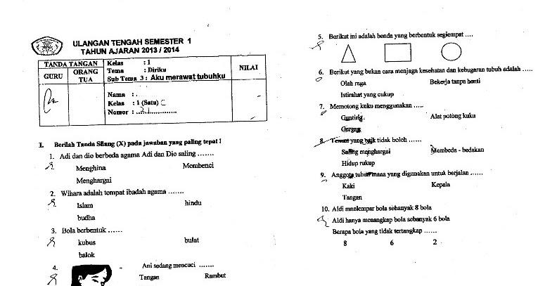 Soal Uts Kelas 1 Tema 1 Diriku Sub Tema 3 Semester 1 Kurikulum 2013