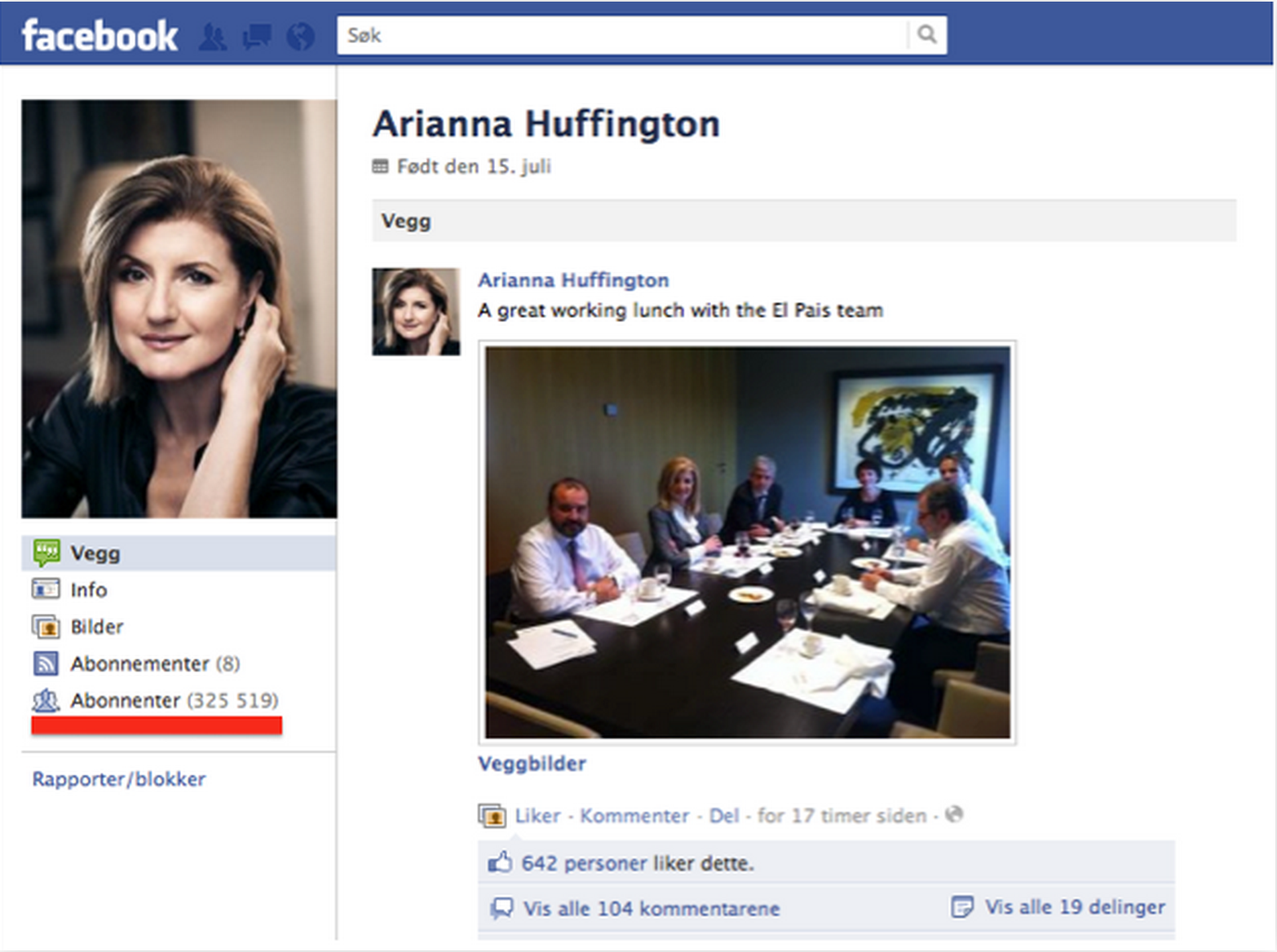 Arianna Huffington Facebook
