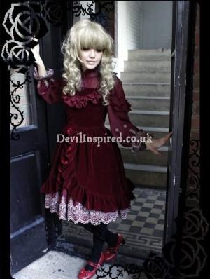 Gothic Velveteen and Chiffon Rococo Lolita Dress
