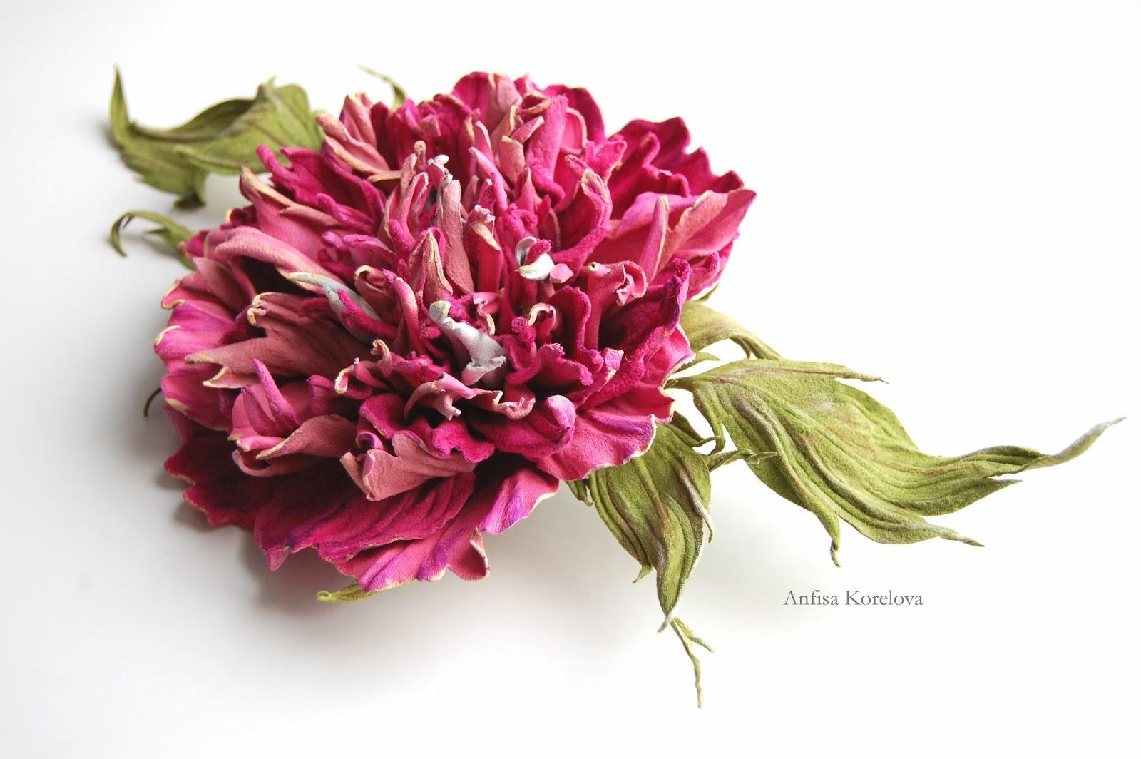 Брошь цветок розовый пион цветы из