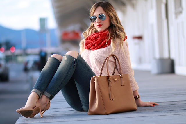 coach red knit scarf; pink and red outfit; camel mason scotch coat, prada saffiano